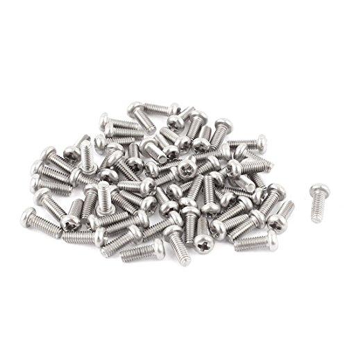 Aexit M2.5 x 7mm 304 Tornillos de Cabeza Redonda Phillips de Acero Inoxidable Tornillo de Cabeza (model: X1096VIIO-3046YC) Redonda 60 unids