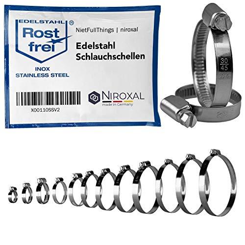 50 piezas abrazaderas de manguera de acero inoxidable con accionamiento helicoidal W4 V2A rango de sujeción Ø 200-220mm = 20-22cm ancho de la banda 12-mm DIN-3022