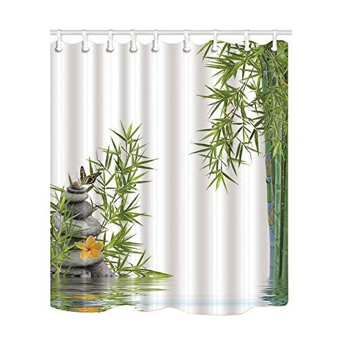 /N Tende da Doccia Asain Spa, Pietre Zen orientali bambù e Farfalla con Acqua Tessuto Poliestere Impermeabile Tenda da Doccia per Bagno Resistente alla Muffa