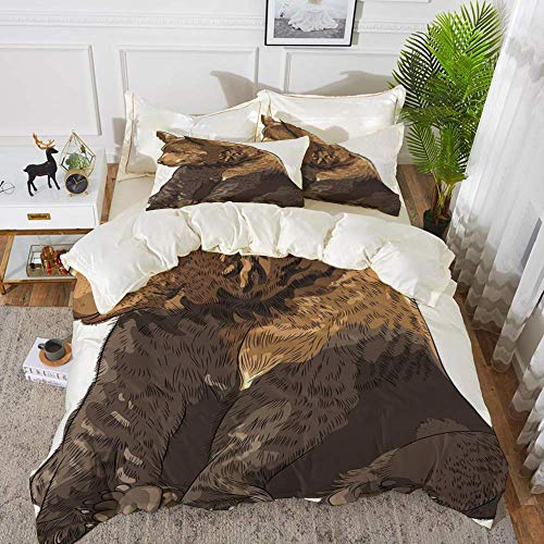 161 Bear,Big and Cute Mammal Sitting Smiling Wildlife Beast Nature Inspired Cartoon Mascot,Hypoallergenic Microfibre Duvet Cover Set 260 x 220cm with 2 Pillowcase 50 X 80cm