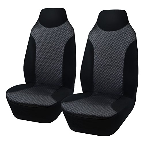 AULLY PARK Universal Fit Leatherette Bucket Seat Covers, Black, Set of 2