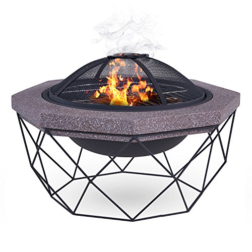 LIVIVO Diamond Stand Fire Pit Brazier with Mesh Spark Guard, BBQ Grill Insert and Metal Fire Poker/Iron - Weather and Rust-Resistant MgO Material, Stone-Effect Upper, Ideal for Garden and Outdoor