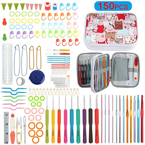 150 Pieces Crochet Hooks Kit with Case, Ergonomic Crochet Hook Knitting Needles Set, DIY Hand Knitting Craft Art Tools Perfect for Beginners and Experienced Crochet Hook Lovers