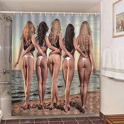 XCBN Cortinas de baño perezosas Blancas para el hogar, Cortina de Ducha de Tela Impermeable Decorativa para el hogar, Cortina de baño de Agua A8 90x180cm