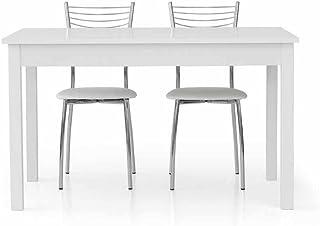 InHouse srls Table Extensible Blanc Pore Ouvert avec 1 rallonge da 60 cm, Style Moderne, en MDF laminé et Structure en Aci...