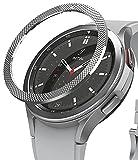 Ringke Bezel Styling Compatibile con Cover Samsung Galaxy Watch 4 Classic 46mm, Ghiera Anti Graffio Acciaio Inossidabile Adesiva Accessorio - Silver (46-40)