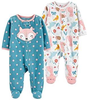 Carter s Baby and Toddler Girls  2-Pack Fleece Footed Pajamas  Fox/Animal Newborn