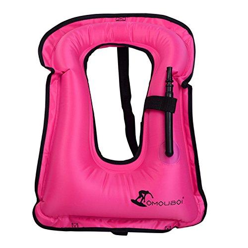 Portable Gilet Gonfiabile boccaglio, Portable Gilet Gonfiabile boccaglio per Immersioni in Tutta Sicurezza Unisex Adulto (40-100KG) (Veste_Rosa)