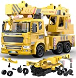 Crane Truck -115 Pcs Take Apart STEM Toys Build Your Own Construction Truck, DIY Building Assembly Kit w/ Realistic Lights and Sounds, Educational Gift Idea for Kids Ages 5 6 7 8 9 Years Old