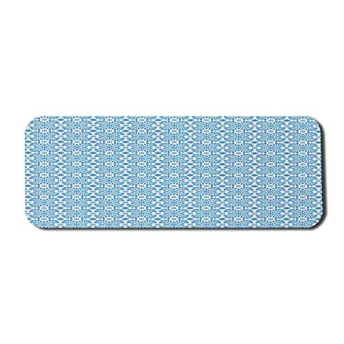 Alfombrilla de ratón étnica para ordenador, azulejos de mosaico tradicionales mediterráneos portugueses con motivos florales, alfombrilla rectangular de goma antideslizante, grande, azul pálido, azul,