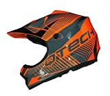 Casque de Moto pour Enfant Motocross Cross Off-Road Noir Mat ATV Quad - Orange - XS
