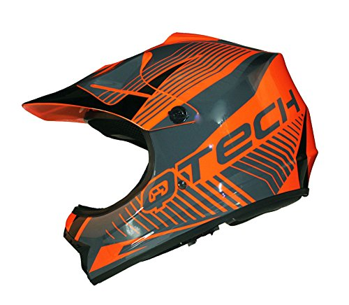 Casco Motocross per Bambino Moto Cross Enduro ATV MX BMX Quad Nero Opaco - Arancia - S (53-54cm)