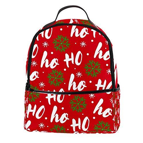 TIZORAX Ho en groene sneeuwvlok patroon laptop rugzak casual schouder Daypack voor student school tas handtas - lichtgewicht