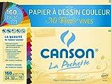 Canson - 526016 - Pochette de 12 feuilles papier dessin - 160 g - 24 x 32 cm - Assortis vifs