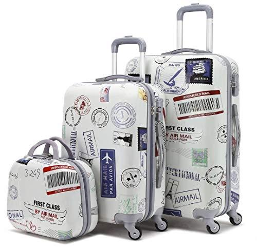 GREENWICH | Juego 2 Maletas + Neceser Stamp | Trolley 4 Ruedas |Mediana M, Pequeña P y Neceser | Correas de Embalaje | Bolsillo Interior | Cremallera con candado