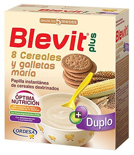 Blevit Plus Duplo 8 Cereales y Galletas María, 1 unidad 600 gr. A partir de los 5 meses.