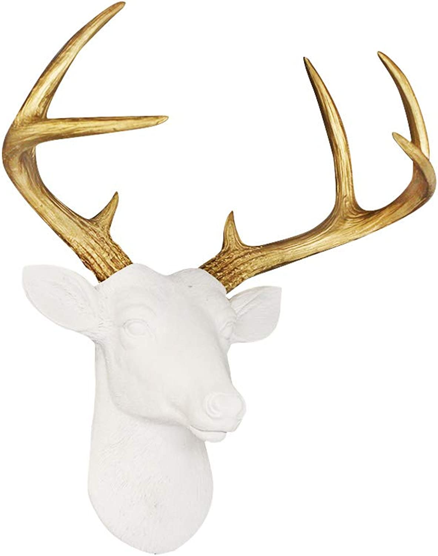 WALL CHARMERS Mini White + gold Antler Faux Deer Head - 14  Faux Taxidermy Animal Head Wall Decor - Handmade Farmhouse Decor