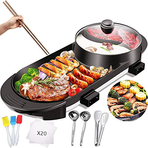 Electric Grill with Hot Pot 2 in 1 Indoor Korean BBQ Grill and Shabu Shabu...