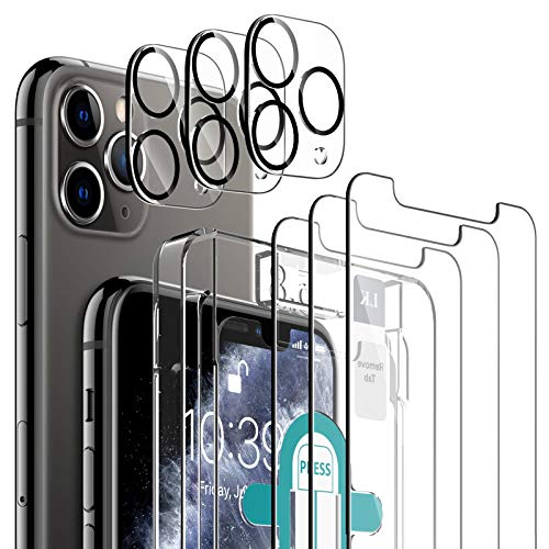 LK [6 Pack] 3 Pack Screen Protector with 3 Pack Camera Lens Protector for iPhone 11 Pro, Tempered Glass [Case Friendly] [Easy-Installation Tool] HD Clear 9H Hardness