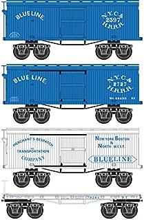 Micro-Trains MTL N-Scale Blue Line Civil War Era Box & Flat Cars - Runner 4-Pack