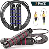 Jump Rope 2 Pack Tangle-Free with Ball Bearing Cable Speed Rope for Women Men Kids Skipping Rope for...