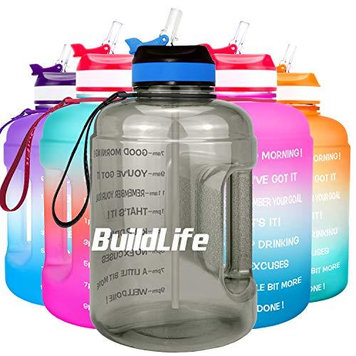 BuildLife Botella de agua motivadora de 2,2 l, con pajita y marcador de tiempo para beber diariamente, sin BPA, reutilizable, para gimnasio, deportes, al aire libre, color gris, 2,2 L