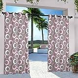 Cortinas geométricas impermeables para cenador, diseño redondo ovalado, vintage, con tonos suaves, para dormitorio, sala de estar, porche, pérgola, 108 x 84 pulgadas, color rosa