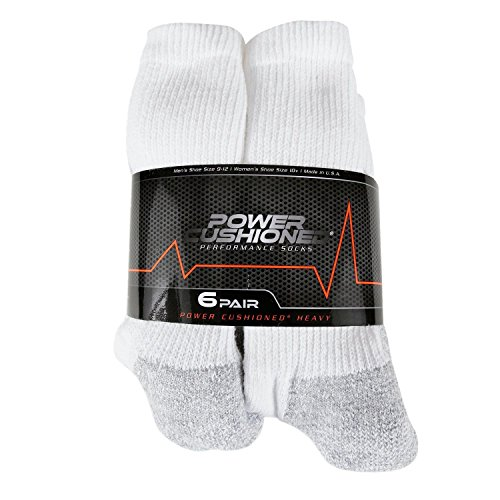 Power Cushioned Performance Crew Large 6 Pair Pack (White)
