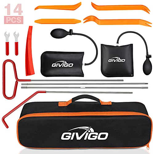 GIVIGO Car Tool Kit 14 Pcs Professional Essential Trim Removal Tool with Pollution Free Air Wedge Long Reach Grabber Non Marring Wedge Emergency Car Kit Tool Sets for Automotive Cars Trucks Vehicles