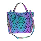 Geometric Luminous Backpack Holographic Purses and Handbags for Women Reflective Bags Wallet Clutch Set NO.4