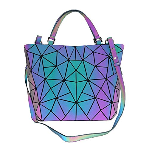 Suuran Geometric Purses and Handbags Iridescent Tote Bags for Women Fashion Reflective Shoulder Bags Holographic Crossbody Bag, NO.4-Lattice