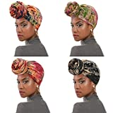 Womens Hair Wraps Turban African Pattern Head Wraps Scarf Headbands Fashion Caps for Women 4 Pack Black& Navy& Pink& Wind Red