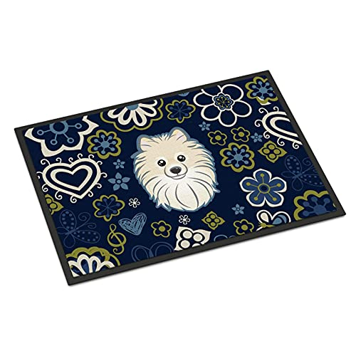 N/A Door Mat Grey Rug Bath Mat Area Rugs Blue Flowers Pomeranian Indoor Mat Doormat Multicolor Home Room Decor 20'x32'