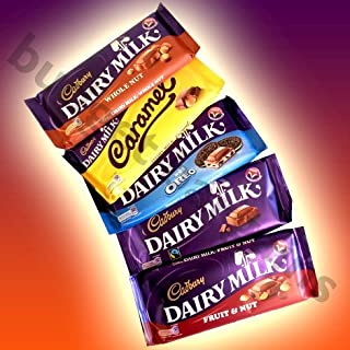 Cadbury 5 Chocolate Bar Extravaganza - Whole Nut, Caramel, Dairy Milk With Oreo, Dairy Milk & Fruit And Nut
