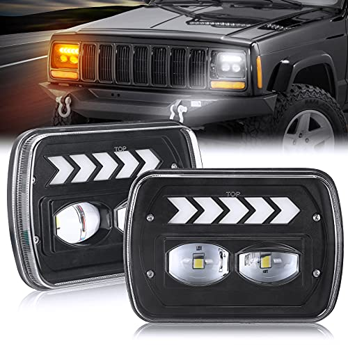 SUPAREE 5x7 7x6 led Headlights Hi Low with DRL & Sequential Turn Signal Light for Wrangler YJ XJ H6054 6054 H5054 H6054 Truck Ford Van   Chevy S10 Blazer Express Van