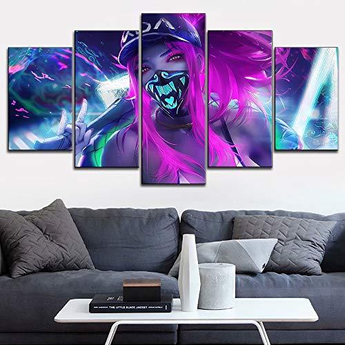 Gerahmtes Poster Kda Akali Maske Neon League of Legends, Wandkunst, Leinwanddruck, Modular-Bilder, 40 x 60 cm, 40 x 80 cm, 40 x 100 cm, 5 Stück