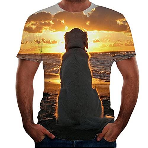 Shirt Hombre Transpirable Cuello Redondo Novedad Manga Corta Hombres T-Shirt Verano 3D Creativo Abstracto Impresión Hombres Ocio Shirt Moda Tendencia Hombres Streetwear T08 XL