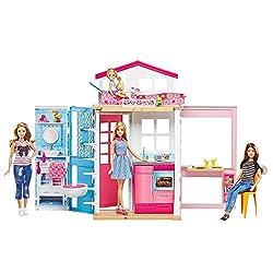Barbie Mattel DVV48-2-Etagen Ferienhaus und Puppe, Ankleidepuppen-Zubehör