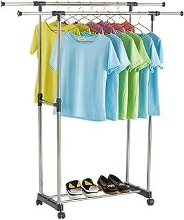 Vixzero Cloth Rack 2 pole, Metal Double Pole Telescopic Clothes Hanger, Black