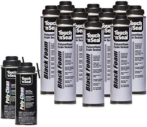 Touch N Seal Black UV-Resistant Polyurethane Gun Foam Spray Sealant Kit - 10/24oz Cans and 2/12oz Cans Zero FOC Polyurethane Foam Cleaner