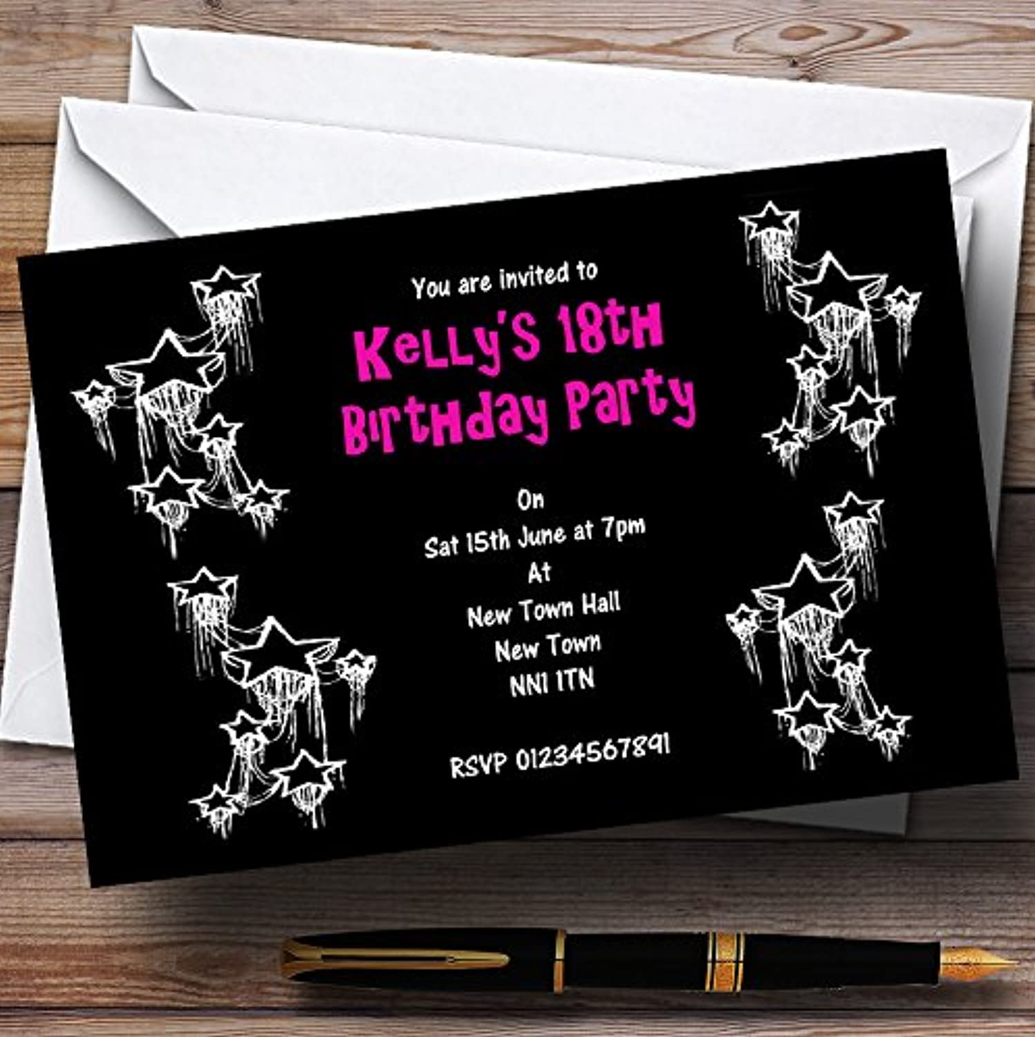 Black Hot Pink White Personalised Party Invitations   Invites & Envelopes