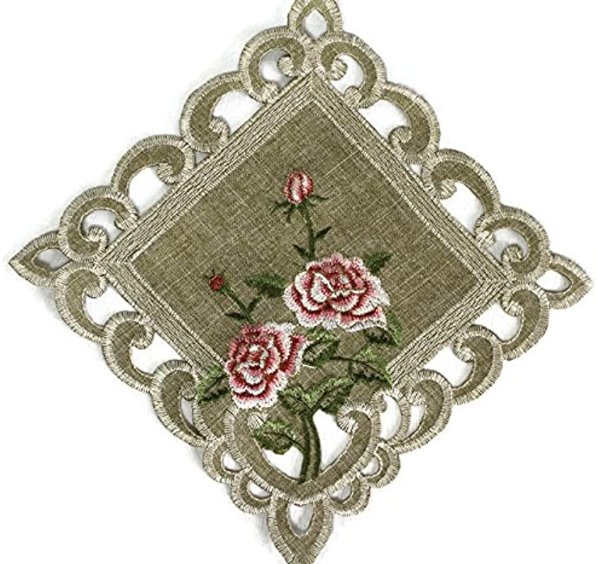Doily Boutique Square Doily With A Pink Rose And Sage Green Burlap Linen Fabric Size 11 Inches