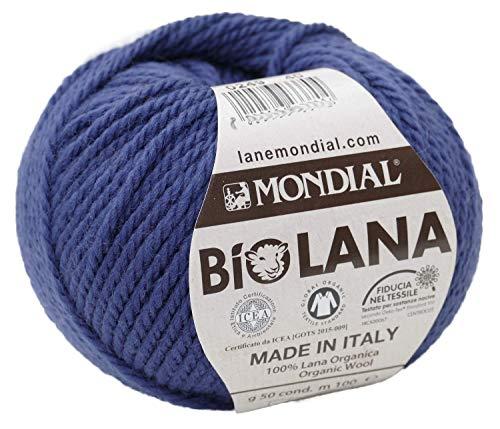 Lane Mondial Bio Lana BioLana Naturwolle Farbe 249 Tinte blau, Biowolle, Organic Wool 100% Reine Schurwolle zum Stricken und Häkeln