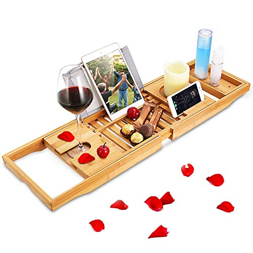 Moclever Bathtub Caddy Trays - Premium Bamboo Bath Trays with Extending Sides, Reading Rack, Tablet Holder, Cell Phone Tray and Luxury Wine Glass Holder - Natural Bamboo Color