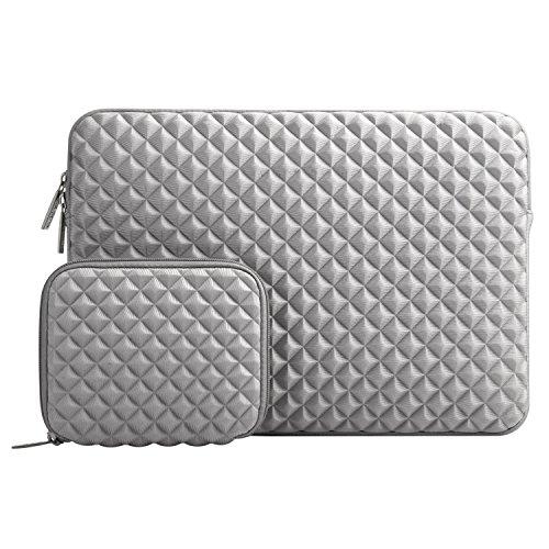 MOSISO Schutzhülle Kompatibel mit 13-13,3 Zoll MacBook Air, MacBook Pro, Notebook Computer mit Klein Fall, Diamant-Muster Neopren Laptoptasche mit Klein Fall, Grau