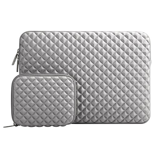 MOSISO Laptop Sleeve Compatible with 13-13.3 Inch MacBook Pro/Air, Notebook Diamond Foam Neoprene Bag Cover with Small Case, Gray