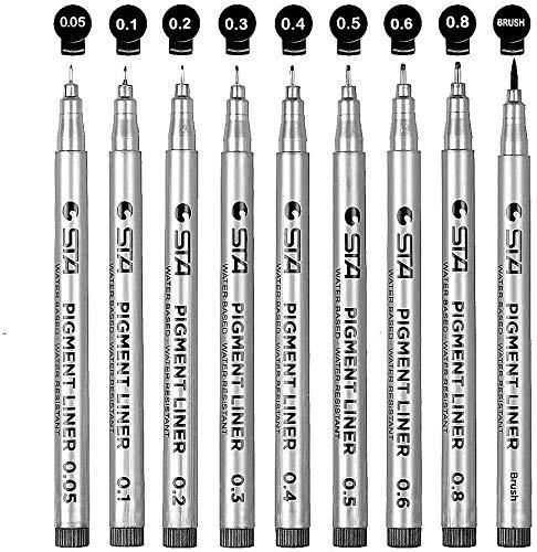 Fineliner Stifte Wasserfester Stifte Schwarz: APOGO 9 Set (8 Linienbreiten und 1 Brush) Zum Skizzieren, Künstler Illustration, Tchnische Zeichnung, Office-Dokumente