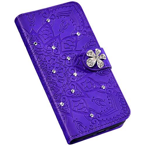 Jinghuash Kompatibel mit Huawei P30 Lite Hülle Bling Glitzer Glänzend Strass Blume Muster PU Leder Flip Case Brieftasche Ledertasche Tasche Klapphülle HandyHülle Schutzhülle,Lila