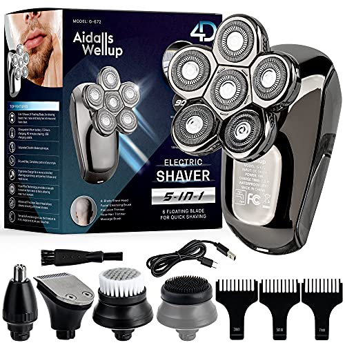 AidallsWellup Men's 5-in-1 Electric Head Shaver for Bald Men - Head Shaver for Men - Anti-Pinch - Ergonomic Design - Cordless and Rechargeable.…