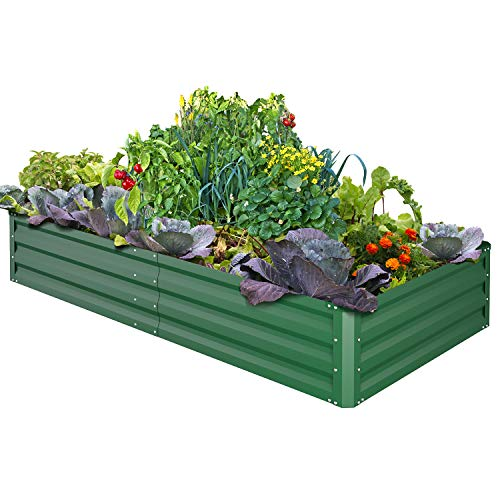 Ohuhu Metal Raised Garden Bed Planter Box, 6' x 3' x 1' Reinforced Galvanized Steel Raised Beds with Baking Varnish, Heavy Duty Planter Box for Growing Vegetables, Flowers, Herbs and Succulents